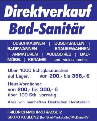 bad sanit r direktverkauf koblenz factory outlet lagerverkauf werksverkauf. Black Bedroom Furniture Sets. Home Design Ideas